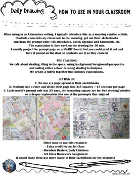 Art - Daily Drawing Sketchbook Journal Prompts NOVEMBER & DECEMBER