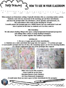 Art - Daily Drawing Sketchbook Journal Prompts YEAR LONG BUNDLE