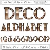 Art Deco Alphabet Clipart Nouveau Letters Numbers Brown Di