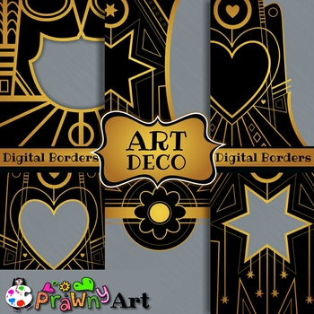Art Deco Backgrounds & Borders in Gold and Black