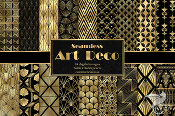 Art Deco Digital Paper Great Gatsby black and gold printable digital backgrounds