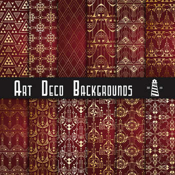 Art Deco Digital Paper, Ruby Red & Gold Art Deco Backgrounds