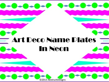 Art Deco Name Plates in Neon