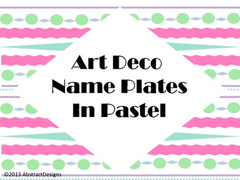 Art Deco Name Plates in Pastel