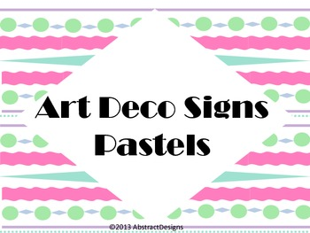 Art Deco Signs in Pastels