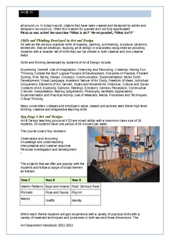 Art Department Handbook for Secondary