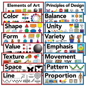 "Elements of Art & Principles of Design Art Poster 5"" X 16"" (Set of 16 Posters)"