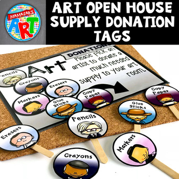 Art Donation Tags for Open House and Meet the Teacher (editable)