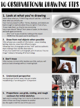 Art - Drawing lessons for high school - Tips for observational drawings
