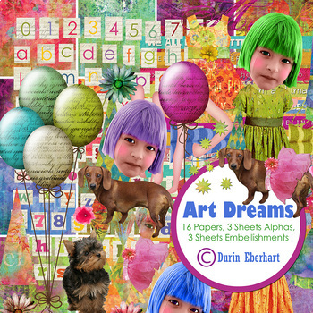 Art Dreams Printable Digital Paper, Embellishments and Alphas