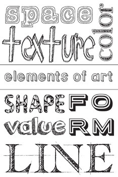 Elements of Art Color it in Poster Set: Art Basics Assignments