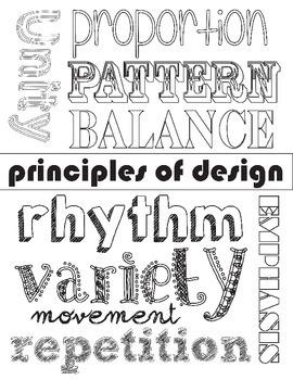 Principles of Design Coloring 10 Worksheet Packet: Art Bas