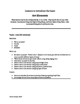 Art Elements - 8 Basic Art lessons - All Grade Levels