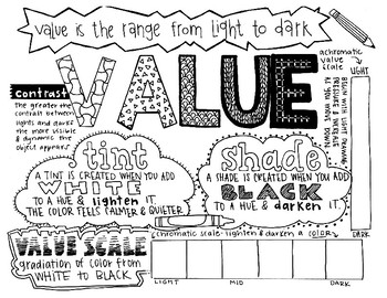 Art Elements | Value | Coloring Page & Notes
