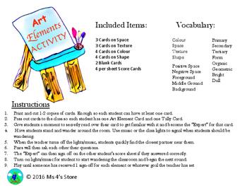 Art Elements Vocabulary Game