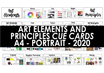 Art Elements and Principles - Cue Cards - A4