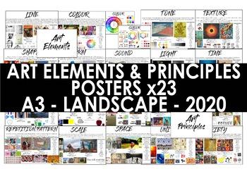 Art Elements and Principles Posters - A3 - Art Classroom Decor Handouts