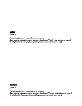 Guide to Art Elements of Photography- handout