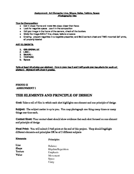 Art Elements of Photography- handout