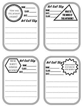 Art Exit Slips with Prompts 1