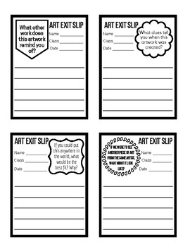 Art Exit Slips with Prompts
