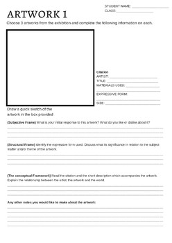 Art Express Excursion worksheet