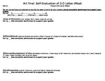 Art Final: Mask or 3D Letter Self-Evaluation Critique sheet