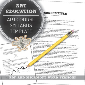 Syllabus Template for Visual Art Classes: First Day of School Handouts