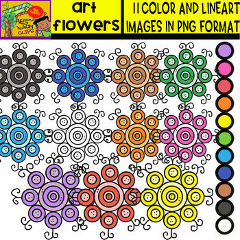 Art Flowers - Cliparts Set - 11 Items