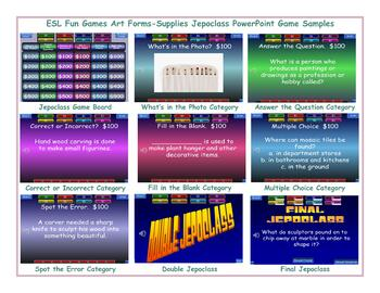 Art Forms-Supplies Jeopardy PowerPoint Game Slideshow