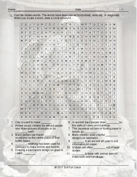 Art Forms Word Search Worksheet