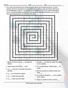 Art Forms Word Spiral Spanish Worksheet