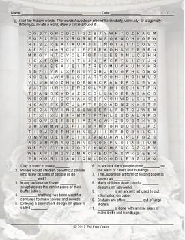 Art Forms Wordsearch Worksheet