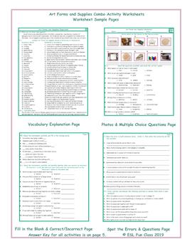 Art Forms and Supplies Combo Activity Worksheets