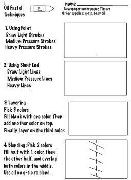 Art ... Free!  Techniques for Oil Pastel Drawing + Activity  (3 Printable Pages)