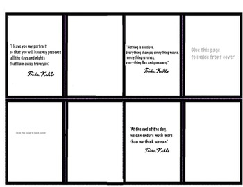 Art Quotes - Frida Kahlo - Make a Mini Accordian Book (4 pages) Read and Draw