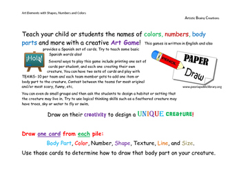 Art Game to learn Colors, Shapes, Numbers, and Body Parts