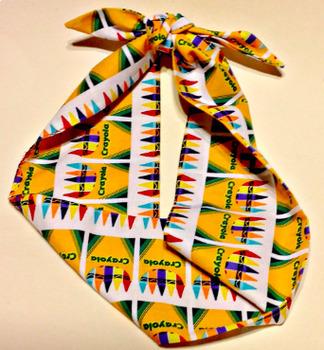 Art Headband,Crayola Crayon Boxes Scarf, Yellow,Colorful,Artistic Scarf