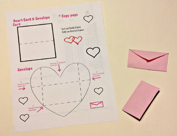 Art Heart Cards and Envelopes Templates (4 pages) Valentines