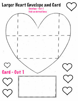 Heart Cards, Envelopes Templates (4 pages) Art Valentines