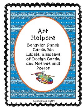 Art Helpers:Behavior Punch Cards, Bin Labels, Design & Sup