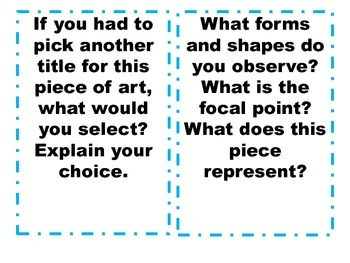 Art Higher Level Thinking Questions Task Cards