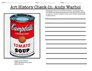 Art History Check-In Writing Prompts, Art and English Common Core