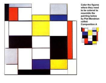 Art History Coloring Sheet - Compositio A, by Piet Mondrian