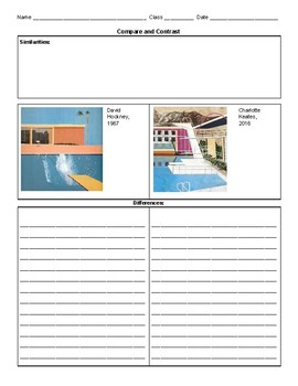 Art History Compare and Contrast Worksheets