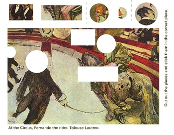 Art History Cut and Paste Worksheet - At the Circus Fernando, the rider