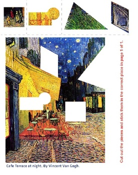 Art History Cut and Paste Worksheet - Cafe terrace at night, by Vincent Van-Gogh