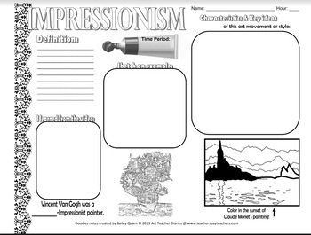 Art History Doodle Notes Set of 18 Editable handouts with Powerpoint Visual Art