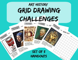 Grid Drawing Challenge - Art History Worksheets - Set of Five Drawing Handouts
