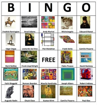 Art History K-12 BINGO Game
